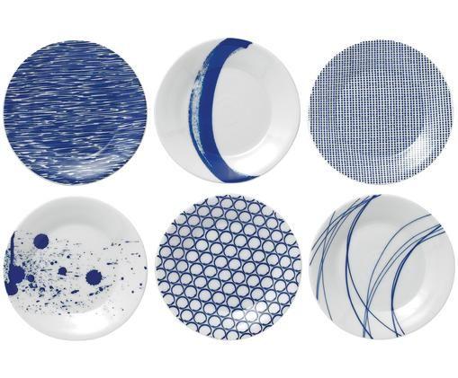 Brotteller-Set Pacific, 6-tlg., Weiß, Pazifikblau