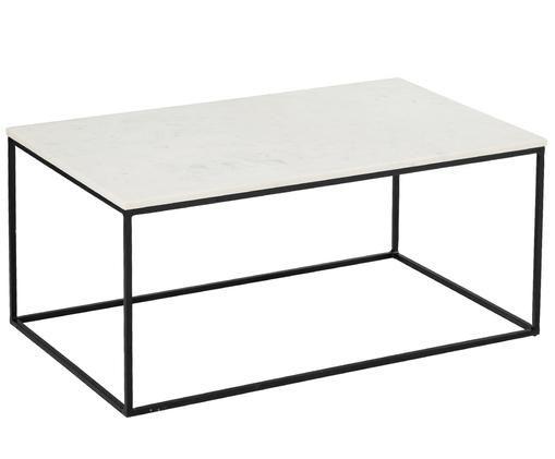 Mesa de centro de mármol Alys, Blanco veteado, negro
