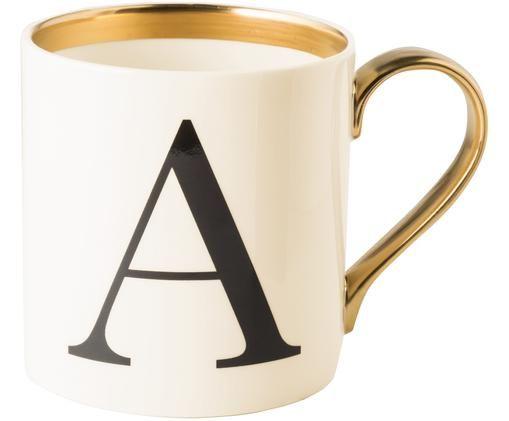 Tasse Baskerville (Varianten von A bis Z), Beige, Schwarz, Gold