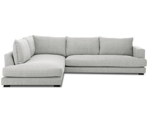 Divano con chaise-longue Tribeca, Rivestimento: grigio Piedini: nero