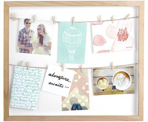 Ramka na zdjęcia Clothesline, Drewno paulownia, biały, beżowy