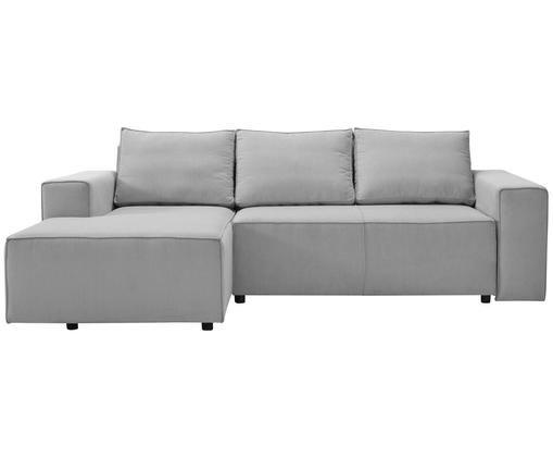 Divano letto con chaise-longue Klarälven, Rivestimento: grigio Gambe: nero