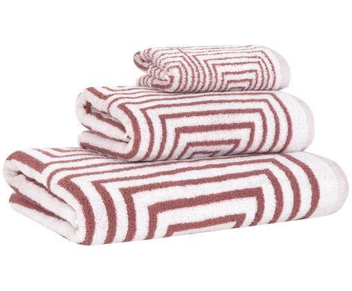Komplet ręczników Billy, 3 elem., Terakota, biały