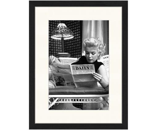 Impresión digital enmarcada Marilyn Monroe Reading, Ilustración: negro, blanco Marco: negro
