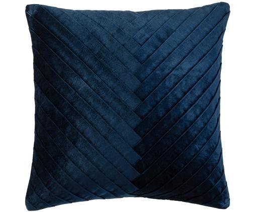 Funda de cojín de terciopelo Amely, Azul oscuro
