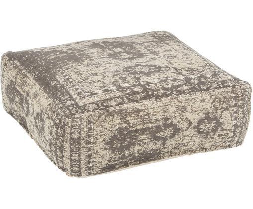 Cuscino da pavimento vintage Rebel, Grigio scuro, crema