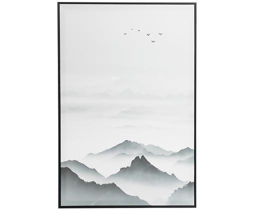 Stampa su tela incorniciata Mountains, Grigio, nero