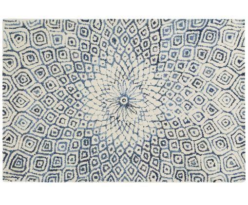Handgetufteter Teppich Fleur in Creme-Blau mit Muster, Jeansblau