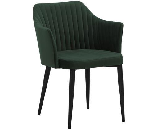 Krzesło z podłokietnikami z aksamitu Lucie, Tapicerka: ciemnyzielony Nogi: imitacja  drewna orzecha włoskiego