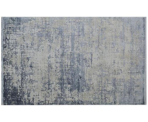 Vintage Teppich Cordoba mit Fransen, schimmernd, Blau, Grau