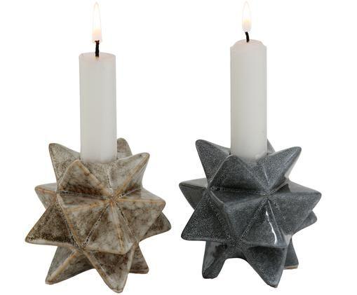 Kerzenhalter-Set Zevio, 2-tlg., Grün, Braun