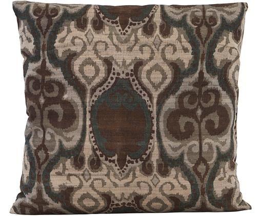 Gemusterte Seiden-Kissenhülle Laha im Vintage Style, Dunkelgrün, Braun, Beige