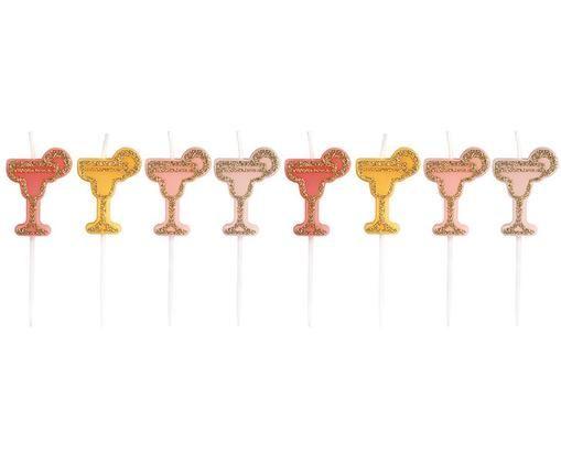 Set candele per torta Cocktail, 8 pz., Rosa, arancione,  rosso, dorato