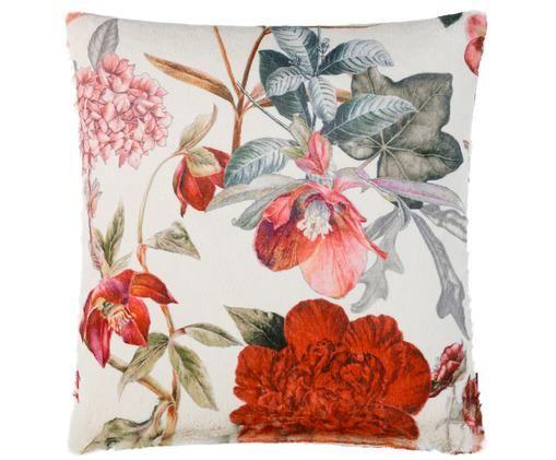 Kunstfell-Kissenhülle Beliza mit floralem Muster, Weiß, Rottöne, Rosatöne, Grau, Grün