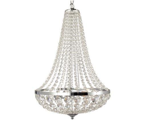 Lámpara de araña Gränsö, Cromo, transparente