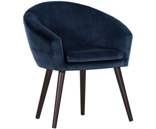 Chaise en velours bleu et à accoudoirs Lino, Bleu foncé