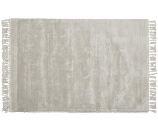 Tappeto in viscosa tessuto a mano Aria con frange in grigio, Grigio chiaro