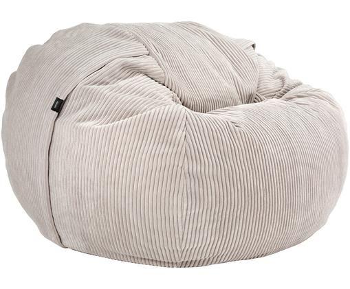 Cord-Sitzsack Velours, Platinfarben