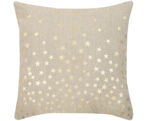 Kissenhülle Kiley mit goldenen Sternen, Beige, Goldfarben