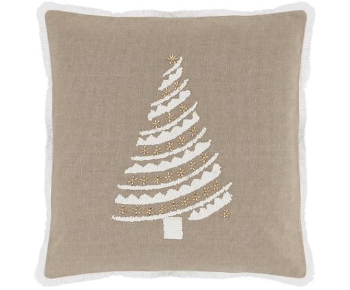 Kissenhülle Tannenbaum mit Motiv und goldenen Perlen, Vorderseite: Taupe, Weiß, Goldfarben Rückseite: Taupe Fransen: Weiß