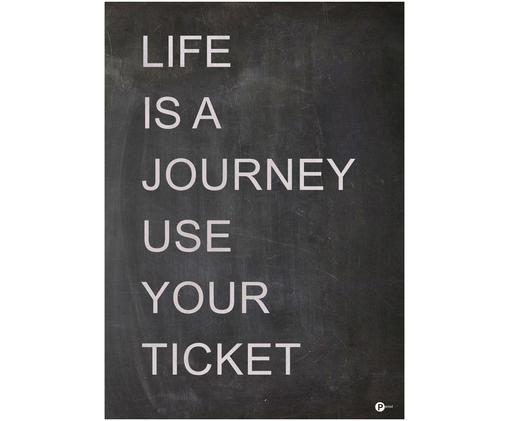 Digitaldruck Life is a Journey, Schwarz, Weiß