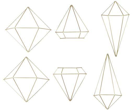 Komplet dekoracji ściennych Prisma, 6 elem., Odcienie mosiądzu