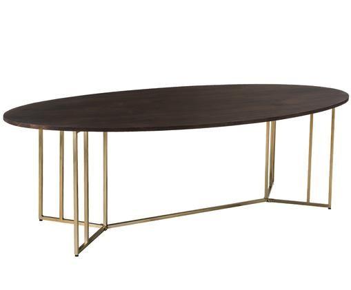 Ovaler Massivholz Esstisch Luca, Tischplatte: Mangoholz, dunkel lackiertGestell: Goldfarben