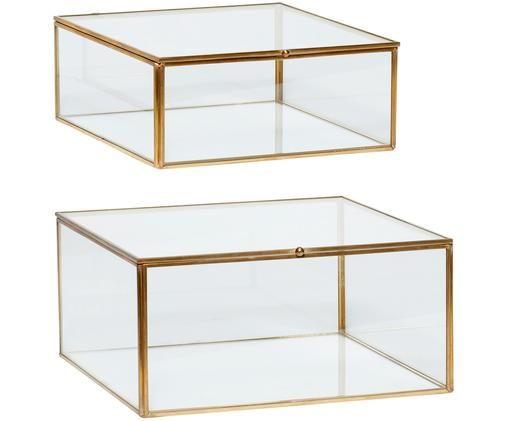 Aufbewahrungsboxen-Set Karie, 2-tlg., Messing, Transparent