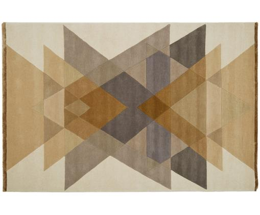 Tappeto in lana taftato a mano  Freya, Giallo senape, beige, grigio, marrone