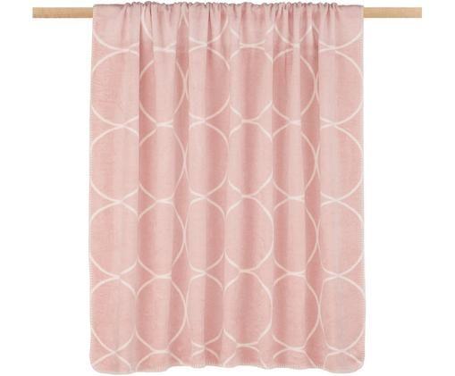 Manta doble cara de gamuza Bamboo Circles, Rosa palo, blanco
