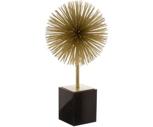 Deko-Objekt Marball, Aufsatz: Goldfarben, Fuß: Schwarzer Marmor