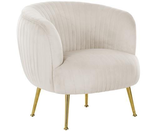Fluwelen fauteuil Cara, Beige