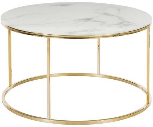 Konferenční stolek smramorovanou deskou Antigua, Bílo-šedá mramorová, zlatá