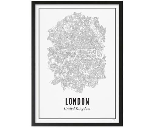 Stampa digitale incorniciata London, Immagine: nero, bianco Cornice: nero opaco