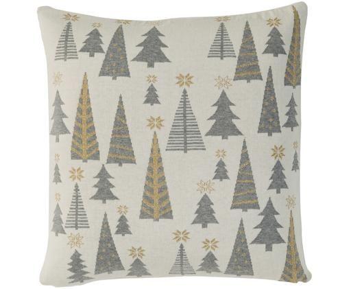 Strick-Kissenhülle Glamour Christmas mit Tannenbäumen, Cremeweiß, Grau, Goldfarben