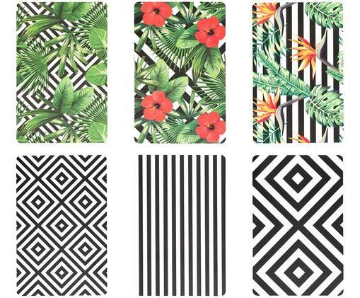 Tischsets Tropicana, 6er Set, Schwarz, Weiß, Grün, Rot, Gelb