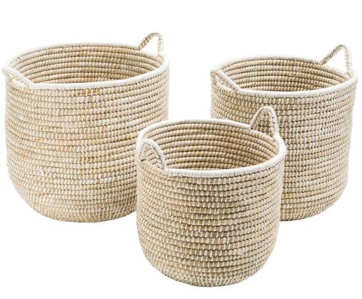 Set de cestas Stormy, Beige, blanco