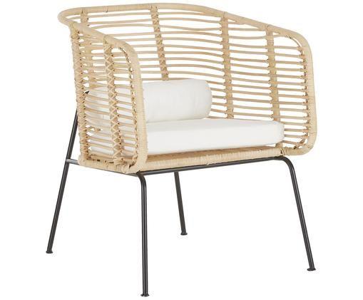 Rattan-Loungestuhl Merete, Sitzfläche: RattanGestell: Schwarz, mattKissenhüllen: Weiß