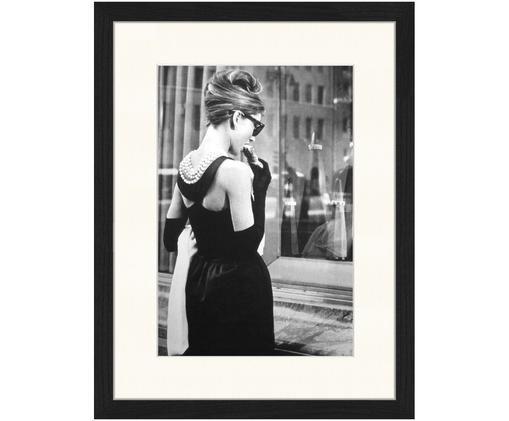 Stampa digitale incorniciata Breakfast at Tiffany's, Immagine: nero, bianco Cornice: nero