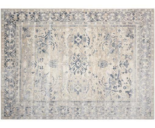 Vintage Teppich Malta in Blau-Beige, Elfenbeinfarben, Blautöne