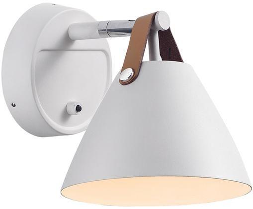 Wandlamp Strap met stekker, Lampenkap en wandbevestiging: wit. Leren band: zandkleurig of zwart