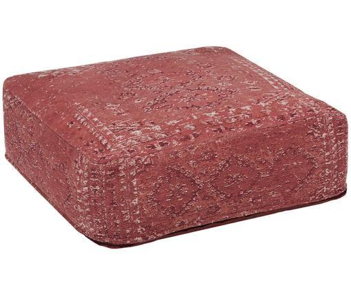 Cuscino da pavimento vintage Rebel, Rosso ruggine, crema, rosso