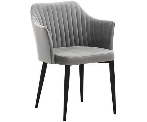 Krzesło z podłokietnikami z aksamitu Lucie, Tapicerka: jasny szary Nogi: imitacja  drewna orzecha włoskiego
