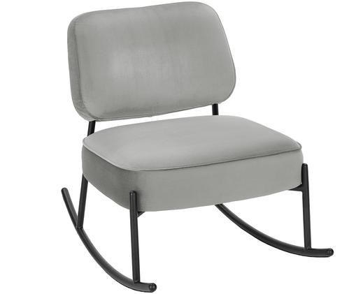 Fluwelen schommelstoel Viggo, Bekleding: lichtgrijs. Frame: mat zwart