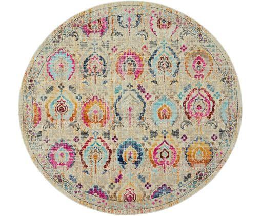 Alfombra redonda de pelo bajo Kashan Vintage, Beige, multicolor