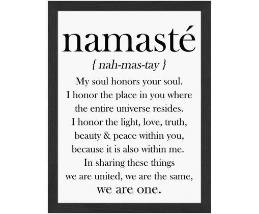 Gerahmter Digitaldruck Namasté, Bild: Schwarz, Weiß Rahmen: Schwarz
