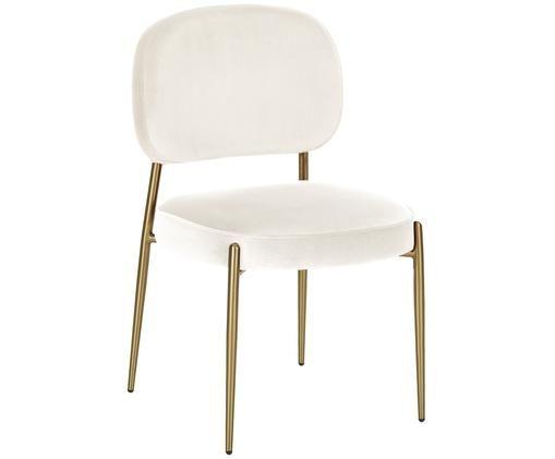 Fluwelen stoel Viggo, Bekleding: beige. Poten en frame: mat goudkleurig