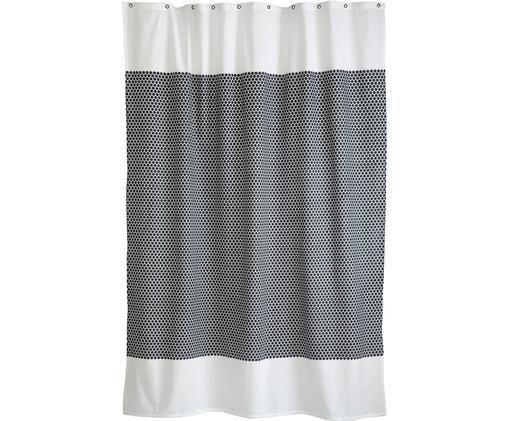 Schmaler Duschvorhang Grid aus Baumwoll-Mix, Nero, bianco