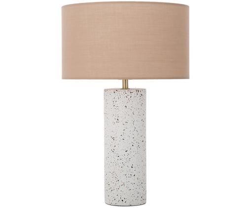 Beton-Tischleuchte Mosaik, Lampenschirm: Altrosa Lampenfuß: Weiß, Terrazzo-gemustert
