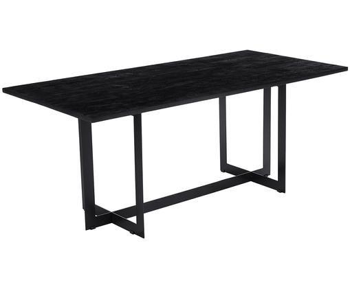 Massief houten eettafel Leila, Tafelblad: zwart gelakt mangohout. Frame: mat zwart